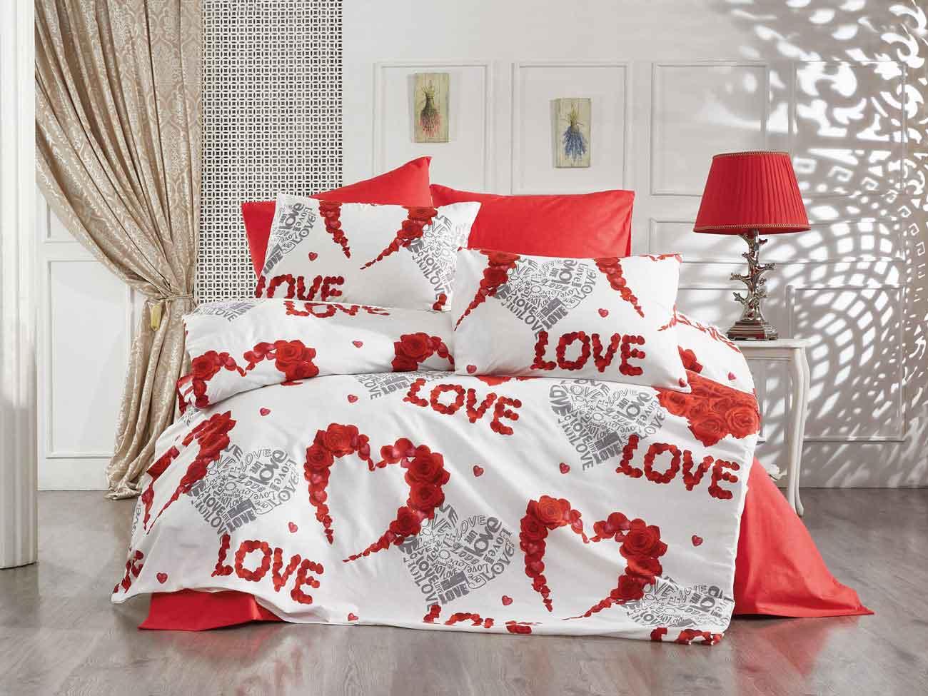 Vinaldi Nevresim Takımı Love Kırmızı